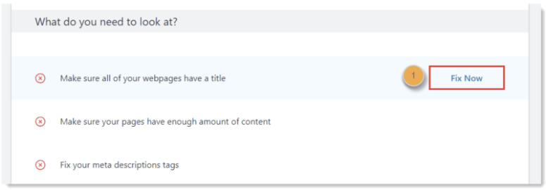 Fix now option in Bluehost seo
