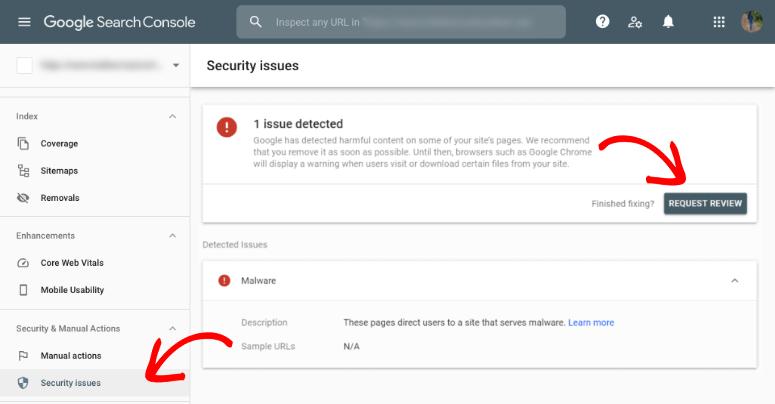 Google blacklist request review gsc