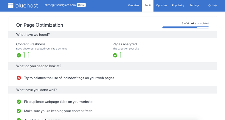 On page optimization in Bluehost