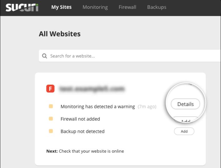 Sucuri dashboard site infected