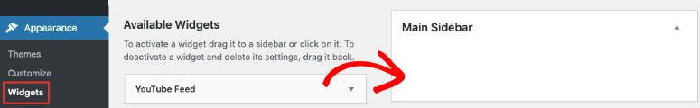 YouTube widget in sidebar