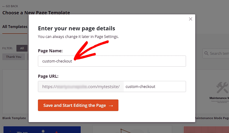 Checkout page name