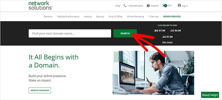 Network Solutions website