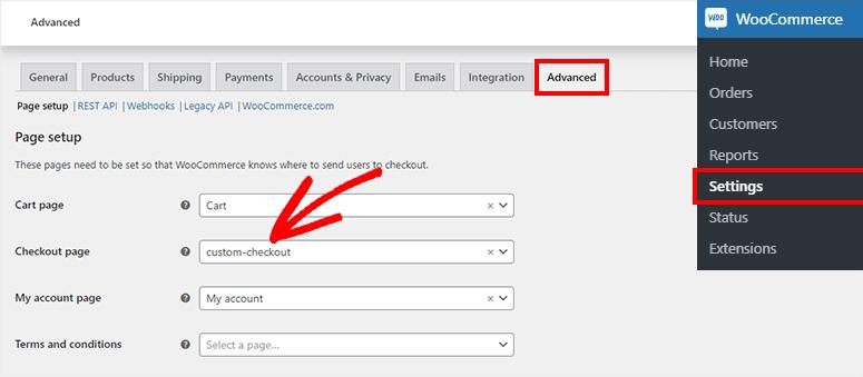 Select checkout page