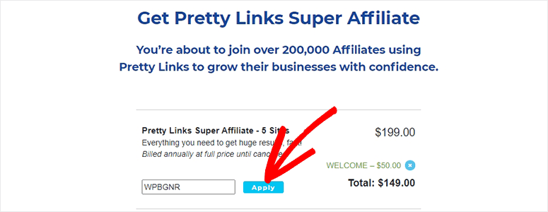 Pretty Links Pro Apply Coupon
