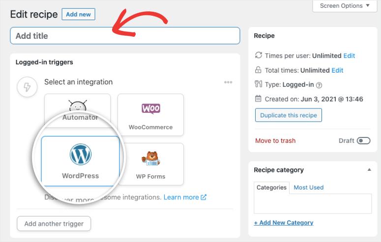 add title select wordpress integration