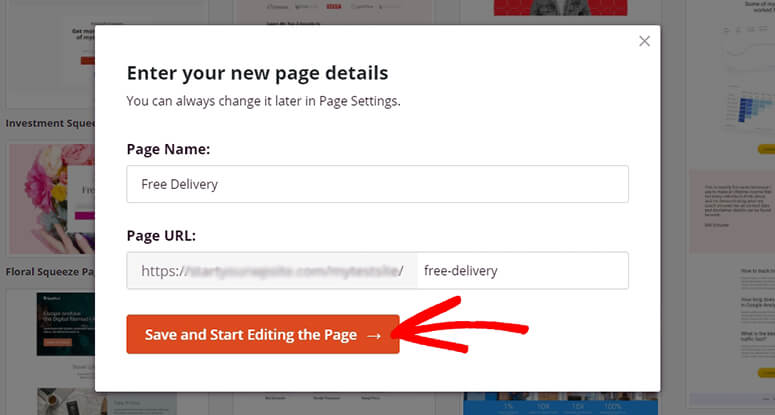 Enter page details