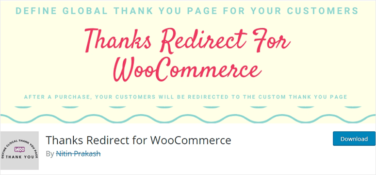 Thanks redirect for WooCommerce