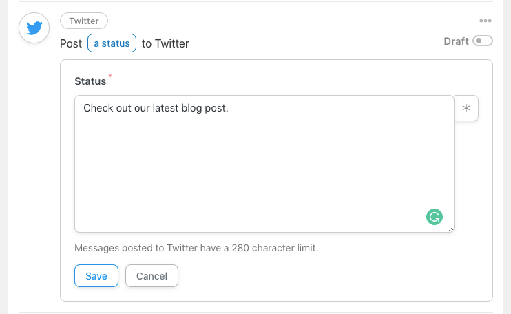 twitter post in automator