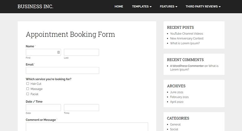 Custom booking form