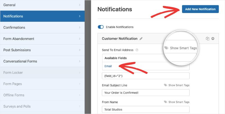 notification for customer in wpforms