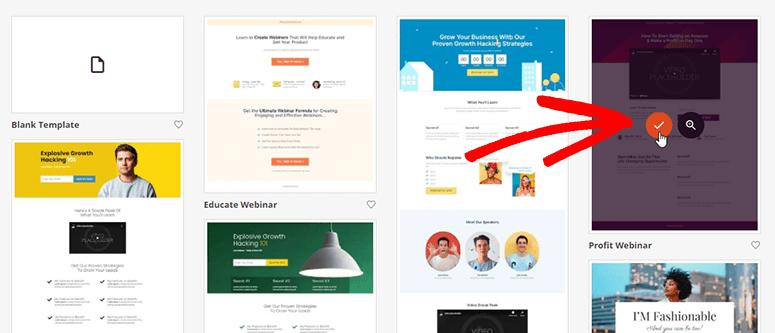 Select webinar page