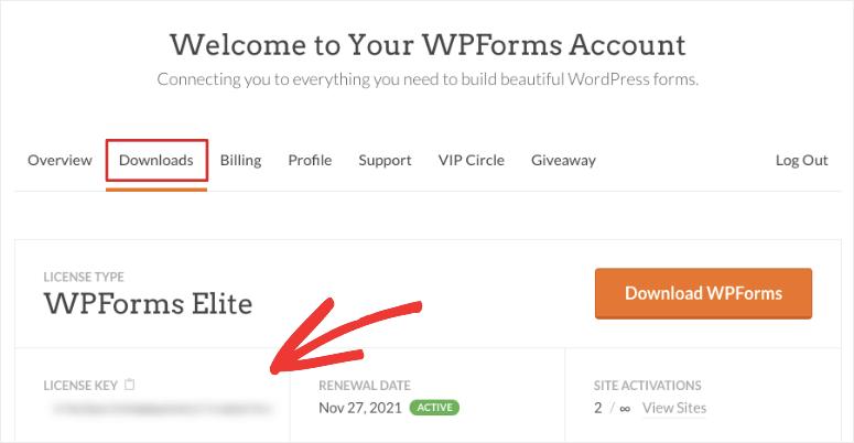 کلید مجوز WPForms