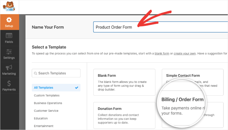 wpforms name and order template
