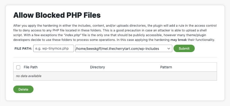 allow blocked php files in sucuri wordpress hardening