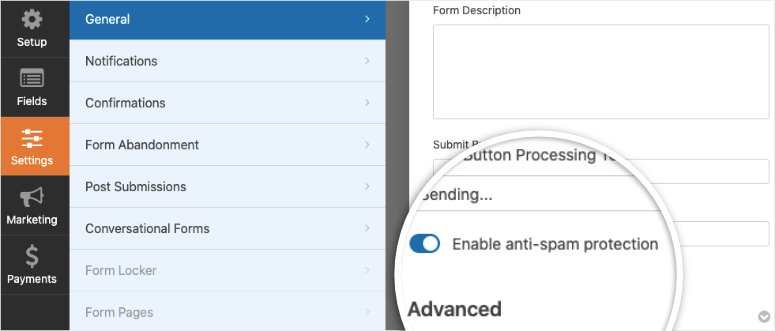 anti spam protection in WPForms