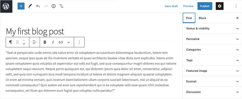block editor in wordpress