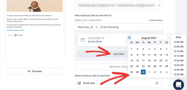 convertkit schedule email