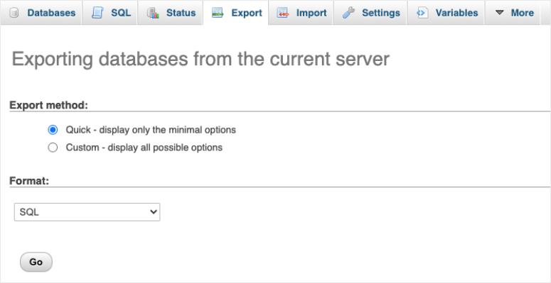 database export options