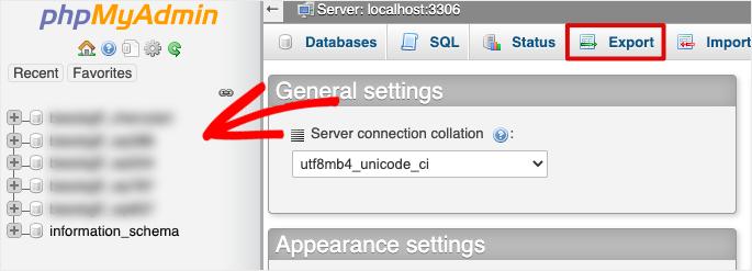 database in phpmyadmin