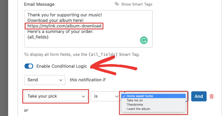 add download link and configure smart logic