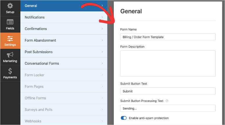 general settings in wpforms