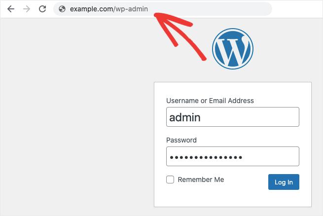 password example wordpress