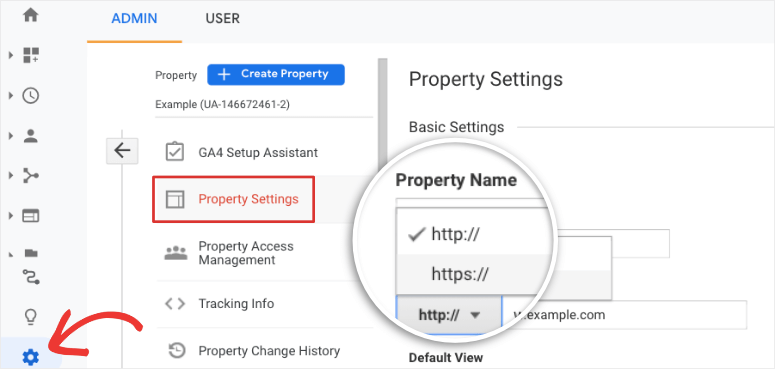 property settings https