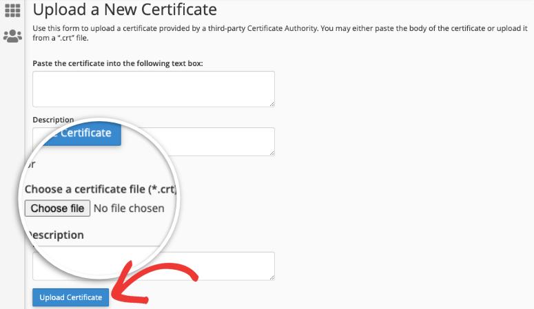 upload a new ssl certificate in cpanel