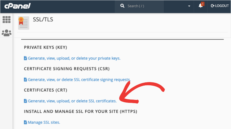 upload ssl certificate option