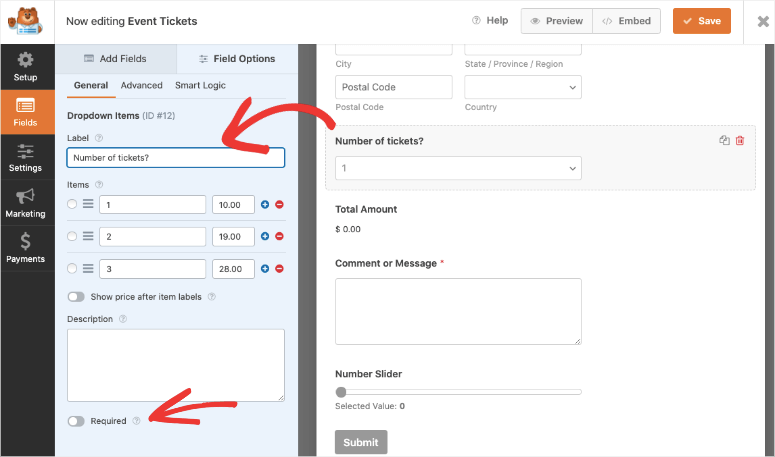 add number of tickets in wpforms