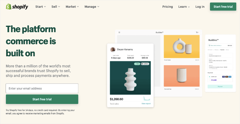 shopify homepage new