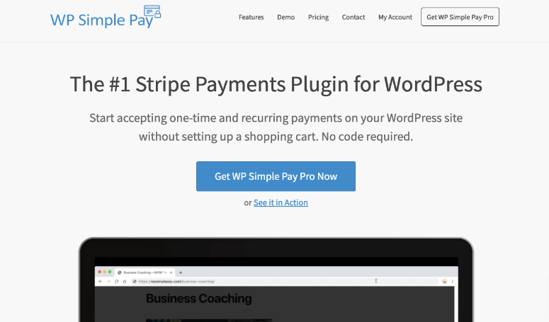 wp simple pay homepage
