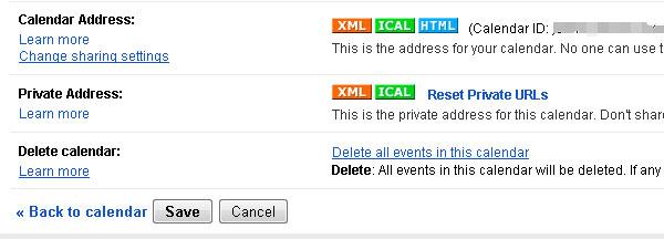 Google Calendar XML Button