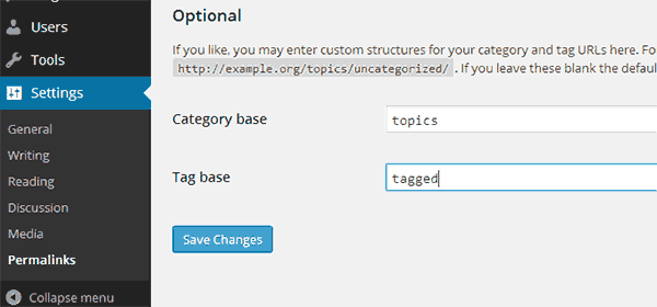 Change Category and Tag base in WordPress