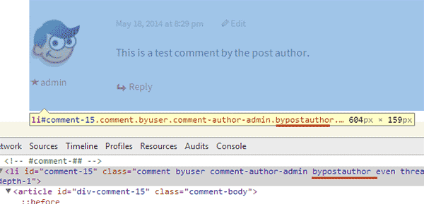 bypostauthor class added to comments written by post's author in WordPress