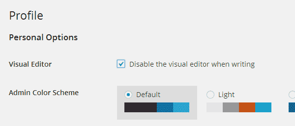Disable visual editor in your WordPress profile page