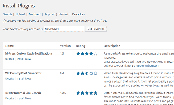 Your favorite plugins from WordPress plugin directory