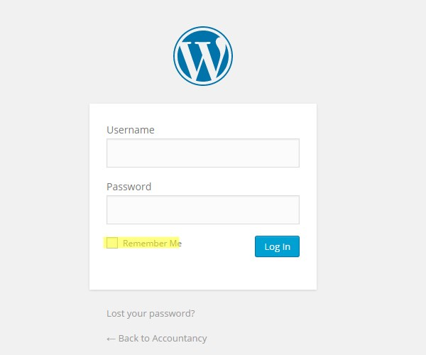 WordPress login page remember me