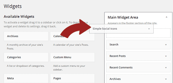 Adding Social Icons Widget to your sidebar