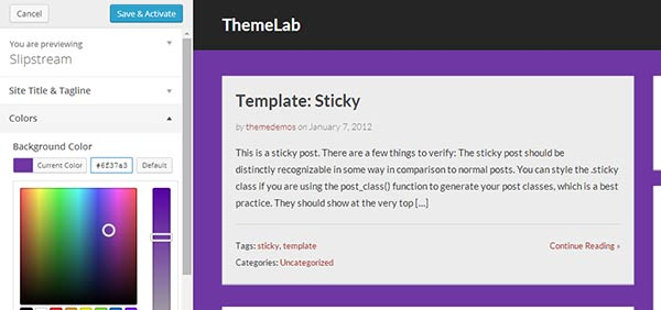 Make live changes to your theme using Theme Customizer