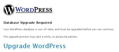 WordPress Database Upgrade Required