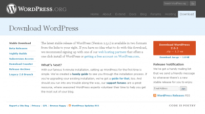 WordPress.org Download Page