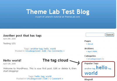 WordPress Tag Cloud Display