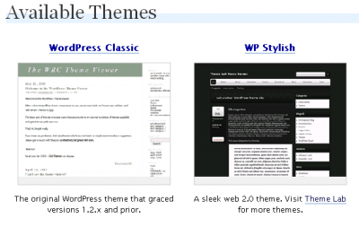 WordPress Theme Select