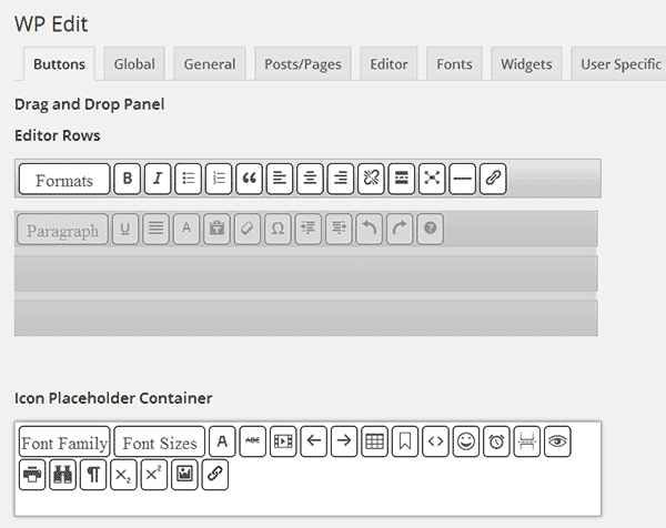 WP Edit drag and drop buttons